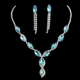 Wholesale Diamonds Round Earrings - NEW 2017 luxury bright blue bride necklace earrings suit silver plated diamond wedding jewelry wholesale spot