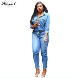 Wholesale Jean Suits Wholesale - Wholesale- Brand Elastic Waist V-Neck Leisure Jean Bodysuit Women Denim Suits Bandage Playsuits Casual Sexy Romper Womens Jumpsuit Big Size