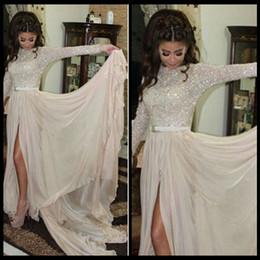 haut col haut robe de bal Promotion Robes de soirée charmantes robes de soirée col haut manches longues fentes surpiquées robes de soirée de bal des finales longues robes de soirée