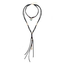 Colares artesanais originais on-line-Multicamadas das mulheres vertentes colar de couro de liga de turquesa colar artesanal Retro Original Design criativo jóias meninas senhoras presentes