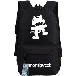 Wholesale Table Cat Box - Monstercat backpack Electronic music school bag Monster cat daypack Pop schoolbag Outdoor rucksack Sport day pack