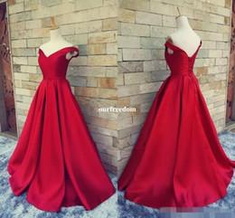 2019 vestidos de noite com colar de strass 2019 Simples Vermelho Escuro Prom Dresses V Pescoço Fora Do Ombro Ruched Cetim Custom Made Backless Espartilho Vestidos de Noite Vestidos Formais Imagem Real