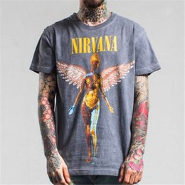 Wholesale Nirvana Clothing - Wholesale- EU US tide brand t-shirt Nirvana men 's In utero record cover photo Heavy metal rock band Men cotton tshirt hip hop clothing