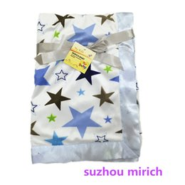 Wholesale Star Fleece Blanket - Beautiful Plush Fleece Knitted Baby Blanket ,100% Polyester soft feel with Satin Trim Printed Star design