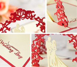 Wholesale Wedding Card Handmade - Valentine Day Wedding Cards Invitations Delicacy Gift Handmade Creative 3D Cards Pop UP Gift 10*15cm Red Color