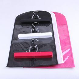 Personalizar ganchos on-line-100 pcs Personalizado Logotipo Cor Preta Extensão Do Cabelo Saco de Embalagem Portador de Armazenamento e Cabide, Peruca Stands, Saco de Extensões de cabelo
