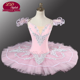 Wholesale Fairy Appliques - Adult Pink Classical ballet Tutu YAGP Professional Pancake Ballet With Flower Fairy Ballet Tutu Costume Dancewear LD0005