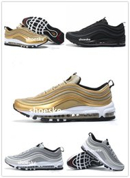 Wholesale Bullet Boxes - 2017 Max 97 OG Metallic Gold Silver Bullet Running Shoes with Box Men and Women