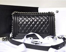 Wholesale cream ostrich feathers - Best-selling High Quality Brand Design Le Boy Plaid chain bag Lambskin Leather Handbag vintage Leboy Shoulder Flap bag