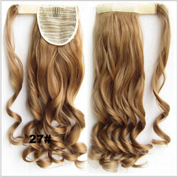 """Wholesale Magic Clip Hair Extensions - Wholesale-Women Wave Clip In Ponytails Fashion Fake Hair 22"""" 55cm Long Magic Paste Curly Synthetic Ponytail Hair Extensions Hairpiece"""