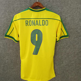 numbered soccer jerseys Promo Codes - Classic 1998 brasil retro soccer jerseys home custom name number Ronaldo 9 Rivaldo 10 brazil football shirts AAA quality soccer clothing