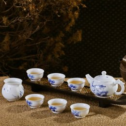 Wholesale Fine Chinese Tea - Blue and White Porcelain Artistc Tea Set with Chinese Fine Brush Handpainted Lotus Painting CN-064