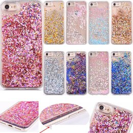 Wholesale Iphone Cover Heart - For Iphone 7 Plus 6 6S Heart Sparkle Bling Diamond Quicksand Bling Star Cover Powder Liquid Glitter Hard Plastic+TPU Floating Case Skin