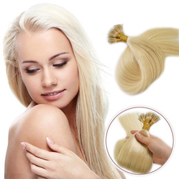Wholesale Wholesale Nano Ring Hair Extensions - Blond nano ring bead tip keratin hair extensions 1g pcs 300pcs full head brazilian remy human hair extensions #613