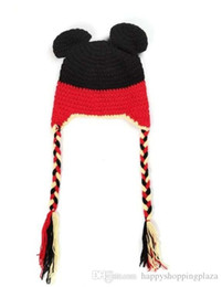 Wholesale Crochet Baby Minnie Mouse - Hot Sale Children Girls Boys Cute Mouse Hat Minnie Micky Design Knitted Hats For Photography Baby Handmade Knitting Hats