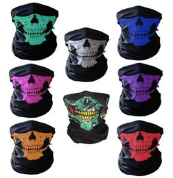Wholesale Skeleton Face Scarf - Halloween Scary Mask Festival Skull Masks Skeleton Outdoor Motorcycle Bicycle Multi Masks Scarf Half Face Mask Cap Neck Ghost a977