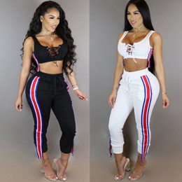 Wholesale White Sexy Leggings Tops - Wholesale - sport suit night club outfit Women's Tracksuits sexy button tank top leggings with short top leggings