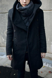 Wholesale Cheap Black Overcoats - Wholesale- 2017 Fashion Cheap Mens Pea Coat With Hood Double Breasted Long Wool Trench Coat Men Overcoat,Grey Black Navy Blue,Plus Size 3XL