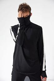 Wholesale Basic Long Sleeve Shirts - New US High Street Pure Cotton Basic Men T shirt Turtleneck Vintage Patchwork Long Tee For Autumn Winter