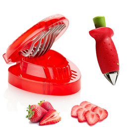 Wholesale Gadgets Strawberry Slicer - Simply Slice Strawberry Section Slicer Kitchen Cutter Gadgets Tool Mini Slicer Cut Stainless Steel Blade Craft Fruit Tools h112