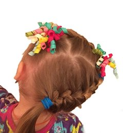 Wholesale Curling Ribbon Wholesale - 45 color optional 3 inch Girls Korker Bow Grosgrain Curled Ribbon Corkscrew ribbons curly Pony Holder 50PCS
