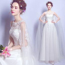 Wholesale Long Floor Length Veil - Vestido De Noiva SSYFashion Bride Pincess Married Sweet Lace Flower Long Wedding Dress with Long Tail Veil Sexy Wedding Gown
