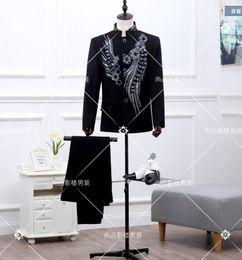 Wholesale Tunics For Men - Wholesale- 2017 latest coat pant designs Vintage national trend male chinese tunic suit costume wedding suits for men ( suit + pant )
