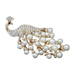 Wholesale Indian Peacock Brooch - Wholesale and Retail Fashionable Pearl Peacock Brooch Pins Women Garment Accessories Jewelry Gold Plated Brooch Animal Rhinestone Pins