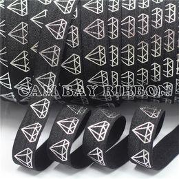 Canada 12 couleurs 50 verges feuille d'argent diamant impression pli sur ruban élastique géométrique ennemi ruban bricolage noeud fait main cheveux cravate accessoires pour cheveux Offre