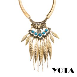 Wholesale Tassel Necklaces China Wholesale - Tassel Necklace African Bead Jewelry Statement Chain Plating Gold Alloy Tennis Graduated Ethnic Native American N384 2 Sets Bulk