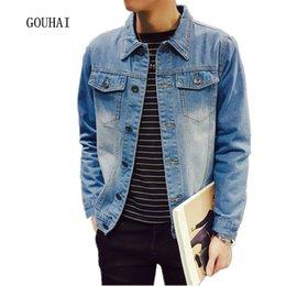 Wholesale Men S Jeans Jackets - Wholesale- Plus Size S-5XL New Men Denim Jacket Autumn Casual Mens Jeans Jacket Chaquetas Hombre Veste Homme Brand Clothing High Quality