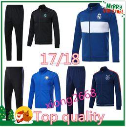 Wholesale Soccer Tracksuit Free Shipping - Best Quality Soccer set Jacket RONALDO tracksuit 2017 2018 Inter real Madrid jackets 17 18 milan ICARDI Football jacket kit Free shipping