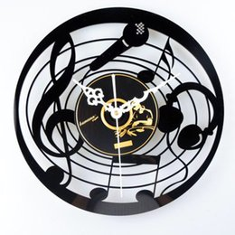 Wholesale Wholesale Music Cds - Music Microphone Tablets CD Album Vinyl Wall Clock Nostalgic Cartoon Mute Clock Creative Wall Clocks Fashion Cute Personality Home Decor