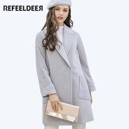 Wholesale Wool Overcoat Design Women - Refeeldeer Elegant Long Winter Coat Women 2017 Fashion Design Wool Coat Women Overcoat Female Winter Trench Coat Gray Blue