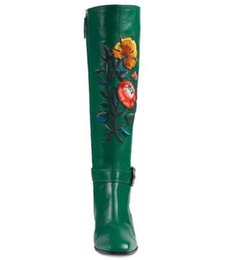 Wholesale polka dot rainboots - classic women boots with zipper thick heel med knee boots genuine leather flower squner toe motorcycle boots western brand shoes