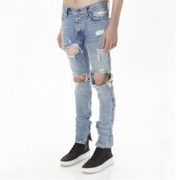 Wholesale Jeans Water - Wholesale- Men Slim Skinny Jeans Runway Straight Denim Pants Destroyed Ripped Trousers High street FOG water damage kan ye hole zipper joker