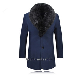 Wholesale Single Button Pea Coat - Wholesale- Custom made new luxury fur collar men wool coats thick woolen blends medium-long trench coat Single Breasted outwear pea coat