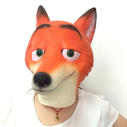 Wholesale Cartoon Man Costume Party - Zootopia Fox Latex Mask Animal Face Full Head Halloween Mask Halloween Party Costume Cartoon Masks movie cosplay Costume Prop Accessories