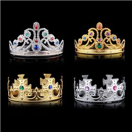 Wholesale princes bags - Cosplay Luxury King Queen Crown Fashion Party Hats Tire Prince Princess Crowns Birthday Party Hat Gold Silver 2 Colors With OPP Bags