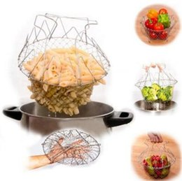 Wholesale Fry Baskets - Foldable Steam Rinse Strain Deep Fry Chef Basket Magic Basket Mesh Basket Strainer Net Kitchen Cooking Tool CCA7685 30pcs