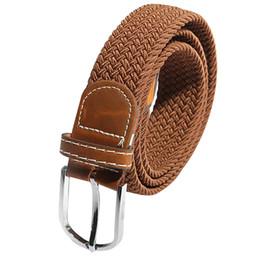 Wholesale Braided Black Belt Men - Wholesale- HOT Unisex Men Women Stretch Braided Elastic Leather Buckle Belt Waistband brown