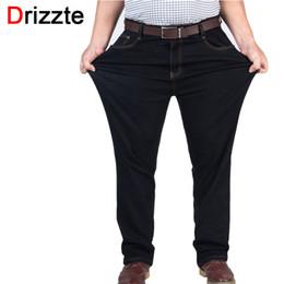 Wholesale Men Jeans Work - Wholesale-Drizzte Mens High Stretch Plus Size 38 40 42 44 46 48 Jeans Black Denim Business Jean Relax Business Work Trousers Pants