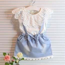 girls tutu layered skirt Coupons - 2017Fashion Princess Skirt Ins Baby Girl Dress Cute Kid Sleeveless Denim Lace Shirt Tulle Bowknot Layered Dress Formal Wedding Party Clothes