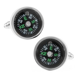 Wholesale Compass Jewelry For Men - Functional Compass Cufflinks Jewelry Stainless Steel Shirt Cufflinks Cuff Buttons Top Quality Cuff Link For Men Gift