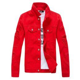 Wholesale Men Hooded Jean Jacket - Wholesale- 2017 Hip Hop Mens Denim Jacket Broken Ripped Jean Jacket Men Urban Clothes Y2019