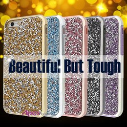 Wholesale Premium Diamonds - Premium bling 2 in 1 Luxury diamond rhinestone glitter back cover phone case For iphone 7 5 6 6s plus s9 s9plus cases