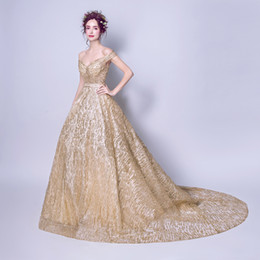 Wholesale Elegant Sweetheart Sequin Prom Dress - Fashion New Luxury Gold Evening Dress The Bride Banquet Elegant Long Tailed Sweetheart Prom Party Formal Gown Robe De Soiree