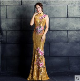 Wholesale Modern Chinese Cheongsam Dress - New Cheap Real Image Evening Dress Chinese Style In Cheongsam Mermaid High Collar Lace-Up Back Sweep Train Sequin Vintage Formal Prom Dress