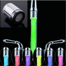 Wholesale Led Color Tap - 7 Color RGB Colorful LED Light Water Glow Faucet Tap Head Home Bathroom Decoration Stainless Steel Water Tap c285