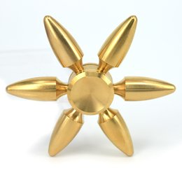 Wholesale Brass Puzzles - Copper Bullet Bowling Ball Hexagon Fidget Hand Spinner With Six Arm Torqbar Brass Puzzle Finger Toy EDC Fidget Handspinner DHL OTH456